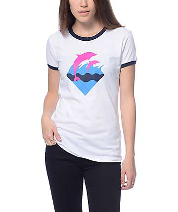 Pink Dolphin OG Waves White Ringer T-Shirt