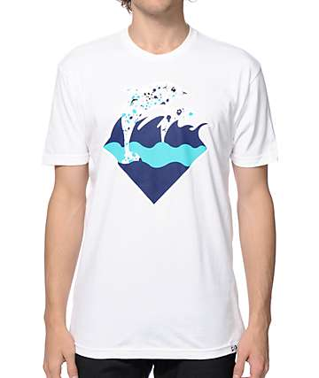 Pink Dolphin Splatter Waves T-Shirt
