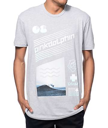 Pink Dolphin Tidal Wave Heather Grey T-Shirt
