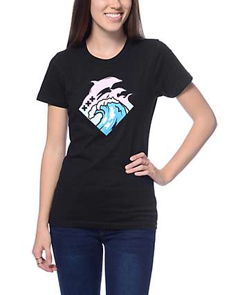 Pink Dolphin Tidal Waves Black T-Shirt