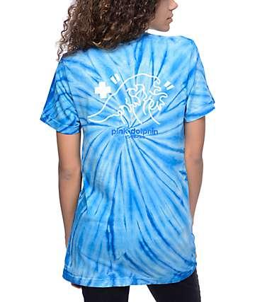 Pink Dolphin Tsunami Script Blue Tie Dry T-Shirt