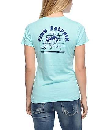 Pink Dolphin Wave Brick Aqua T-Shirt