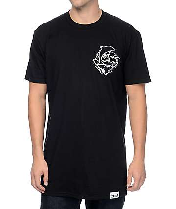 Pink Dolphin Waver Prayer Black Tall T-Shirt