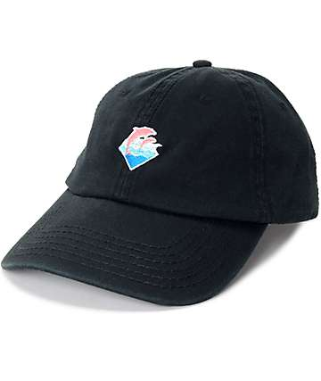 Pink Dolphin Waves Black Dad Hat