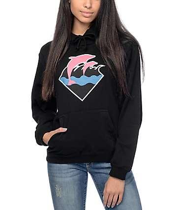 Pink Dolphin Waves Black Hoodie
