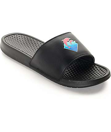 Pink Dolphin Waves Black Slides