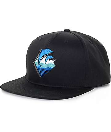 Pink Dolphin Waves Black Snapback Hat