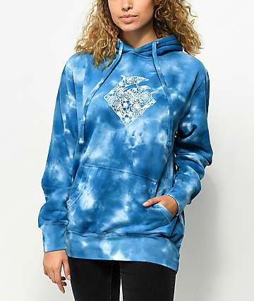 Pink Dolphin Waves Floral Blue Tie Dye Hoodie