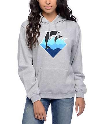 Pink Dolphin Waves Grey Hoodie