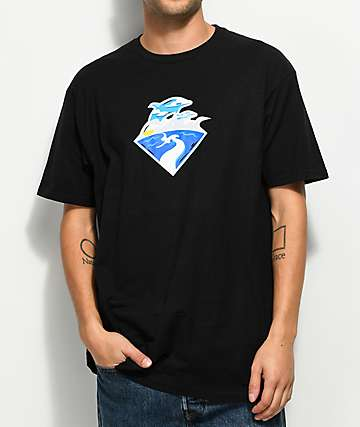 Pink Dolphin Waves Horizon Black T-Shirt