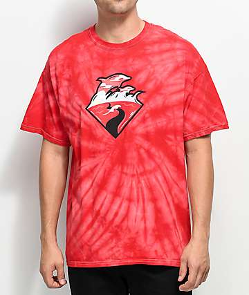 Pink Dolphin Waves Horizon camiseta roja con efecto tie dye