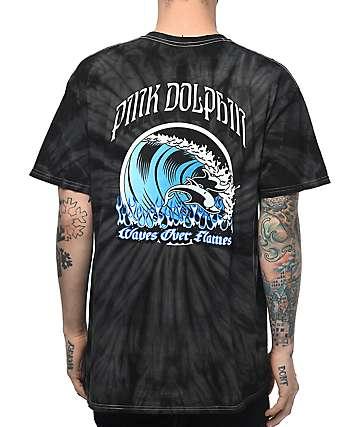 Pink Dolphin Waves Over Flames camiseta con efecto tie dye