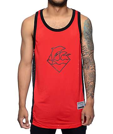 Pink Dolphin Waves Red Tank Top