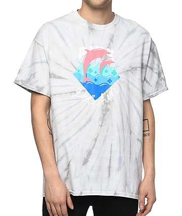 Pink Dolphin Waves Script camiseta blanca con efecto tie dye