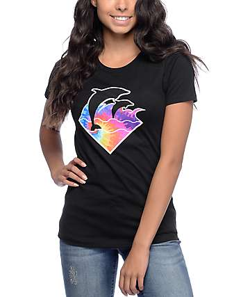 Pink Dolphin Waves Tie Dye Black T-Shirt