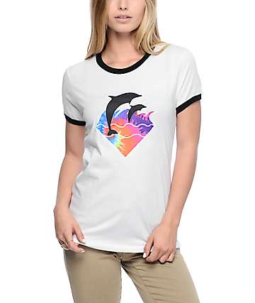 Pink Dolphin Waves White & Black Ringer T-Shirt