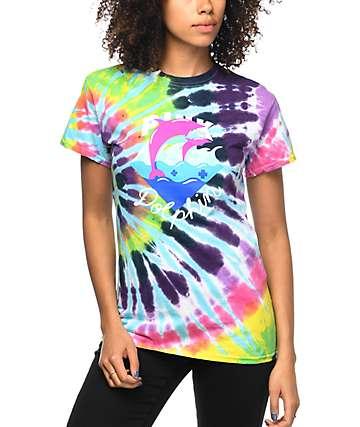 Pink Dolphin Waves camiseta con efecto tie dye