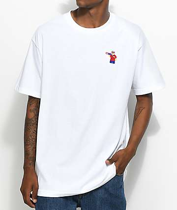 Pizza Bear Embroidered White T-Shirt