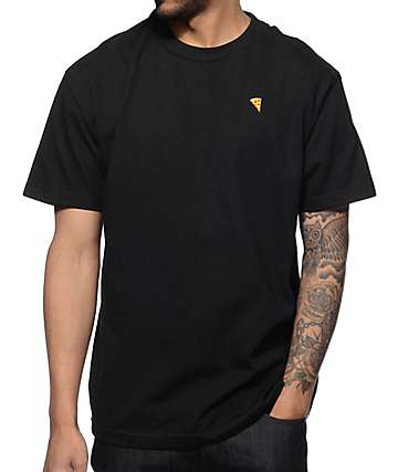 Pizza Embroidered Black T-Shirt