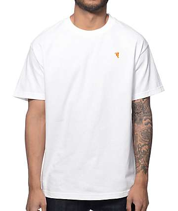 Pizza Embroidered White T-Shirt