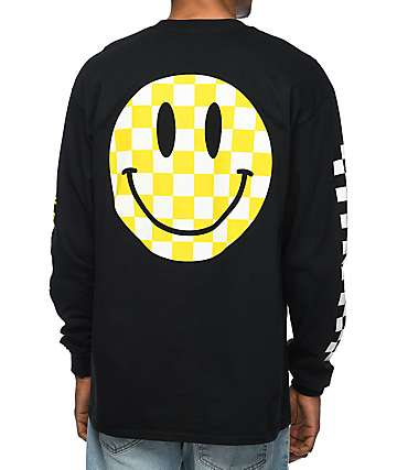 Pizzaslime Smiley Black Long Sleeve T-Shirt
