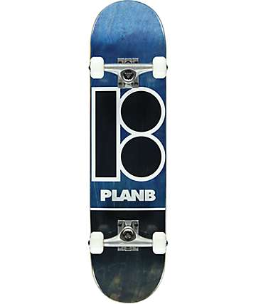 "Plan B Team Blue Stain 7.75"" Skateboard Complete"