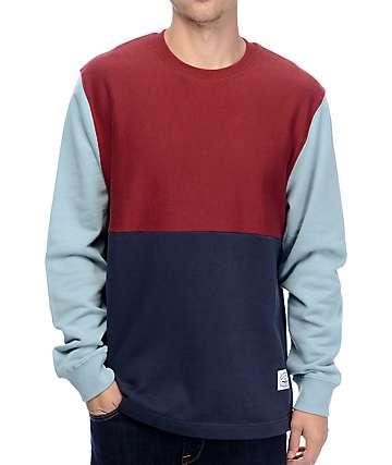 Poler Fifty 50 Merlot, Navy & Blue Crew Neck Sweatshirt