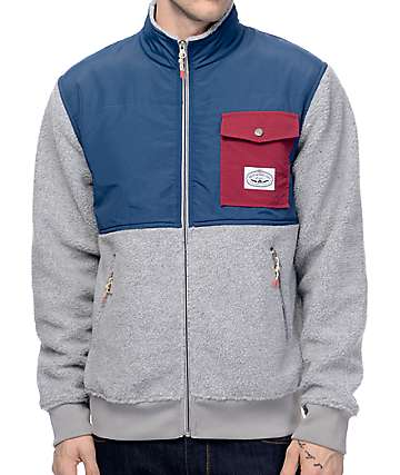 Poler Half Fleece Grey & Navy Jacket