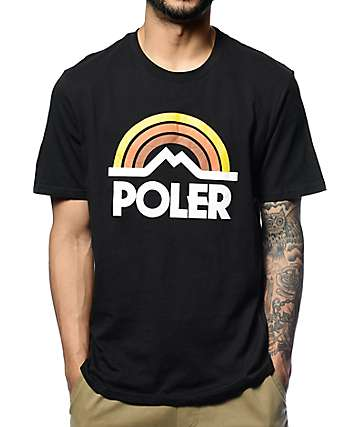 Poler Mountain Rainbow Black T-Shirt