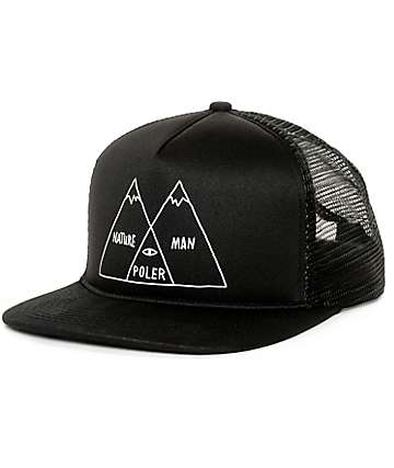 Poler Venn Black Trucker Hat