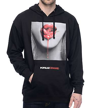 Popular Demand Cherry Lips Black Hoodie