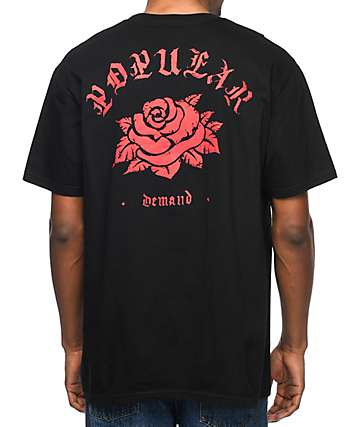 Popular Demand Classic Rose Black T-Shirt