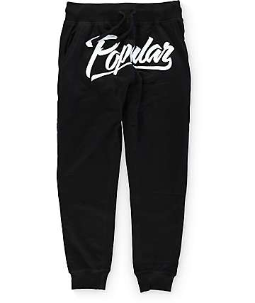 Popular Demand Popular Script Black Jogger Pants
