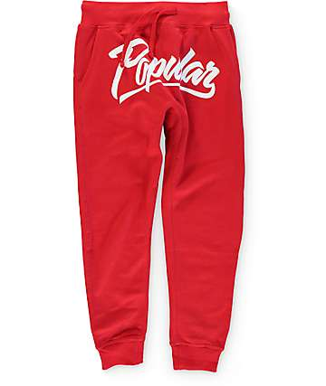 Popular Demand Popular Script Red Jogger Pants