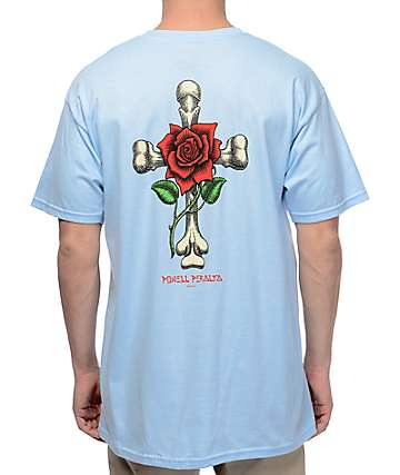 Powell & Peralta Rose Cross Blue T-Shirt