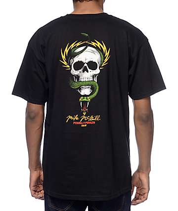 Powell Skull And Snakes Black T-Shirt