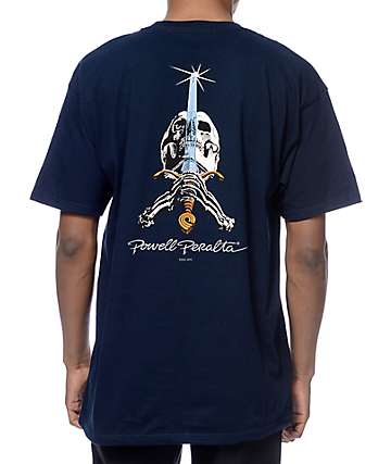 Powell Skull And Swords Navy T-Shirt