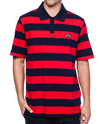 Primitive Arch Stripe Navy & Red Polo T-Shirt