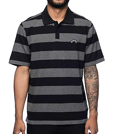 Primitive Arch camiseta polo rayada en gris y negro