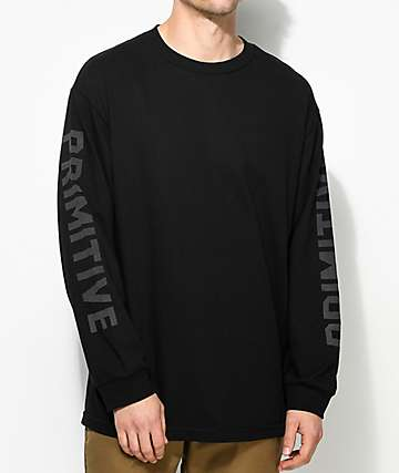 Primitive Block Reflective Black Long Sleeve T-Shirt