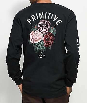 Primitive Bloom Black Long Sleeve T-Shirt