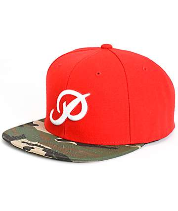 Primitive Classic P Red & Camo Snapback Hat