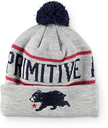 Primitive Cub Heather Grey Pom Beanie