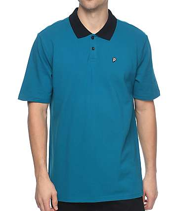 Primitive Dirty P Cyan Blue Polo Shirt