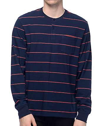 Primitive Drake Striped Long Sleeve Navy Henley Shirt