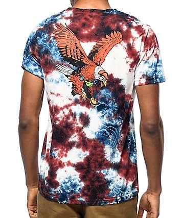 Primitive Eagle camiseta con efecto tie dye en blanco, rojo y azul