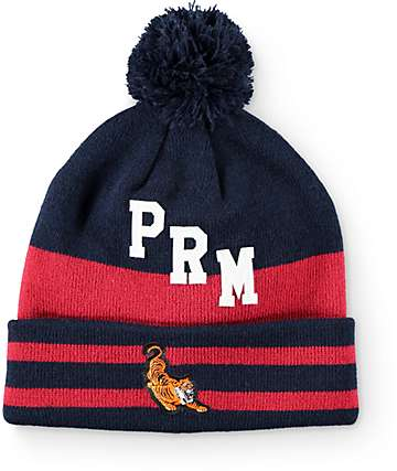 Primitive El Tigre Navy & Red Pom Beanie
