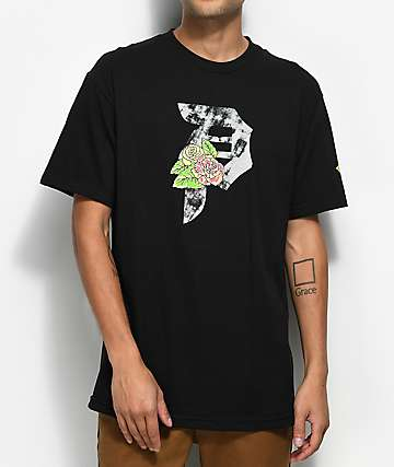 Primitive Floral camiseta negra