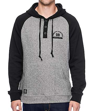 Primitive Founded Black & Grey Henley Hoodie