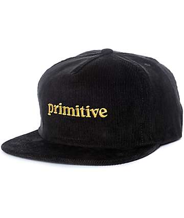 Primitive Good For Life Black Corduroy Snapback Hat